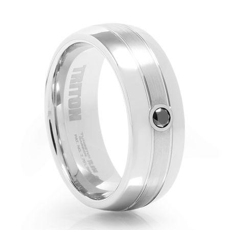 VAXEL White Tungsten &  Black Diamond Ring by Triton
