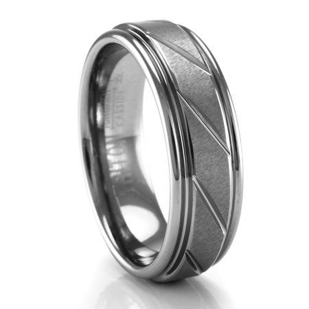 TRITON Diagonal Grooved Tungsten Ring