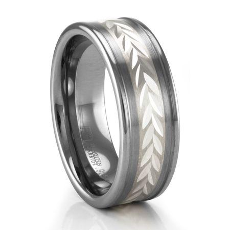 TRITON Wheat Design Sterling Silver and Tungsten Ring