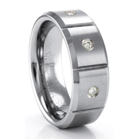 TRITON Tungsten Ring with Diamonds