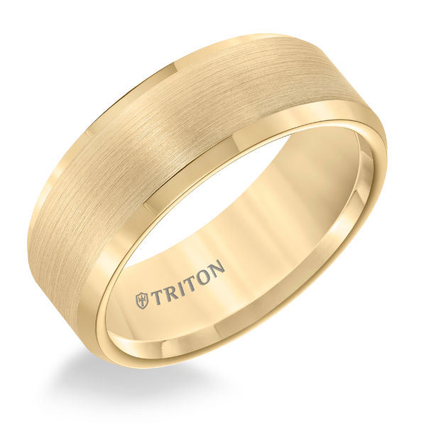 Yellow Tungsten 8mm Bevel Edge Ring by Triton