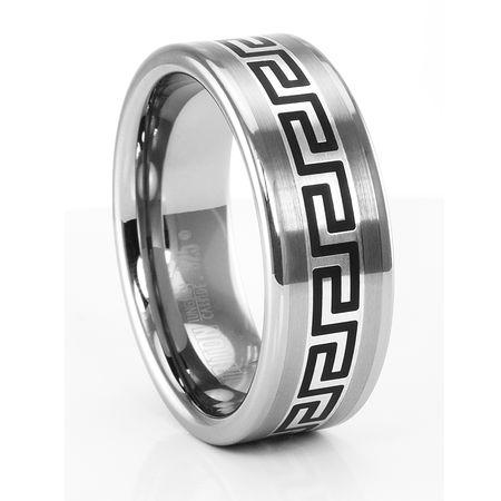 GREEK KEY Tungsten Ring by TRITON