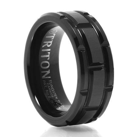 TRITON Brick Design Black Tungsten Carbide Wedding Band - Cutlass