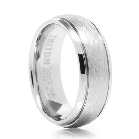TRITON White Tungsten Carbide Wedding Band Heisenburg