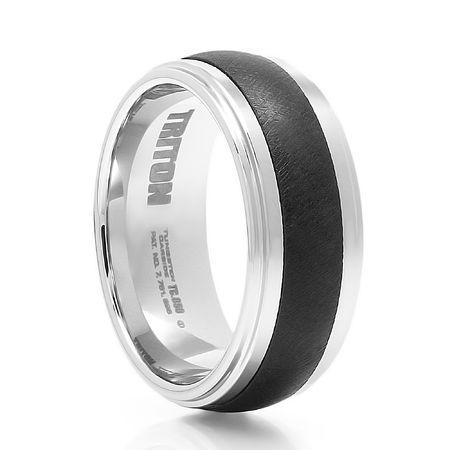TRITON Black and White Tungsten Carbide Wedding Band Devlin