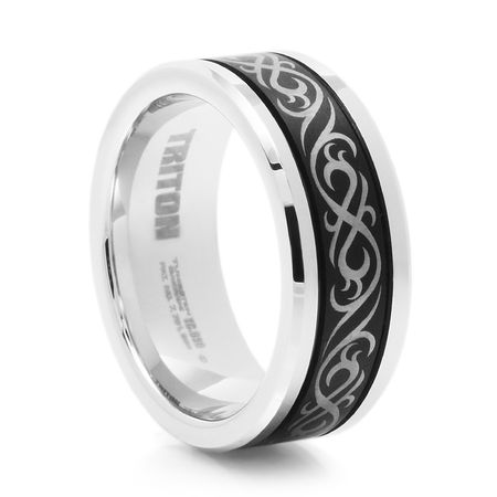 TRITON Black & White Tungsten Wedding Band - Tribal Design