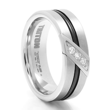 TRITON Black & White Tungsten Wedding Band With Diamonds Flux