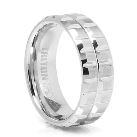 TRITON White Tungsten Carbide Wedding Band Sprocket
