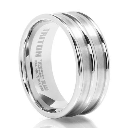 TRITON White Tungsten Carbide Wedding Band Ulysses