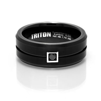 Black Tungsten and Black Diamond Ring by Triton