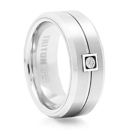 TRITON White Tungsten & Diamond Wedding Band Bute
