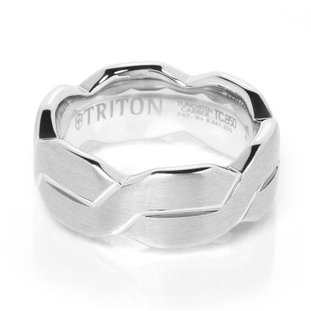 TRITON White Tungsten Wedding Band Infinity