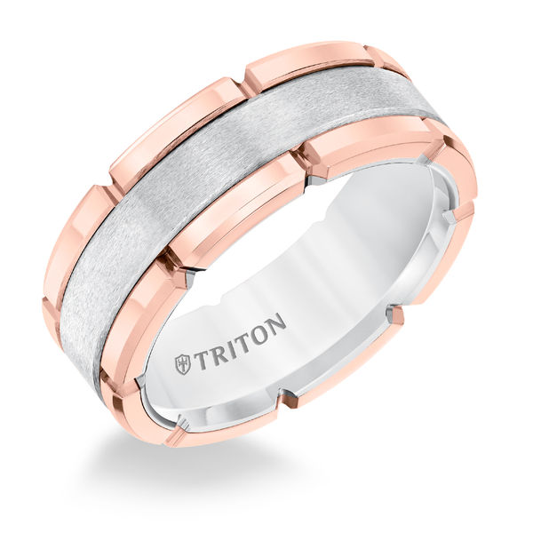 Rose & White Tungsten 8mm Block Ring by Triton