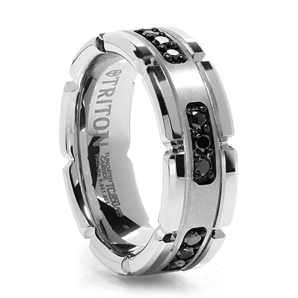Triton White Tungsten Ring With Black Diamonds - Panzer