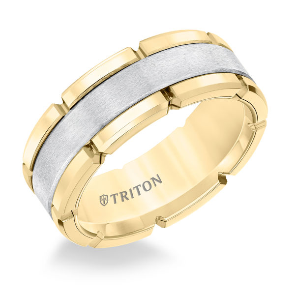 Yellow & White Tungsten 8mm Block Ring by Triton
