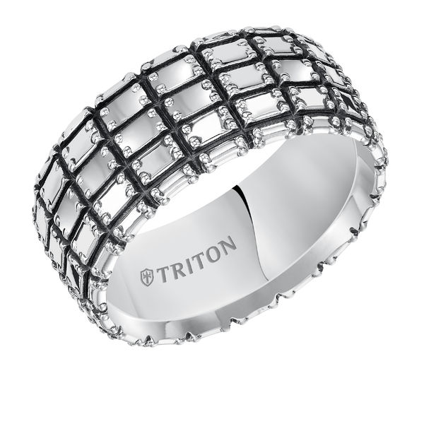 Triton Sterling Silver Block Design Ring