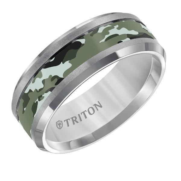 Triton Grey Tungsten Green Camo Ring