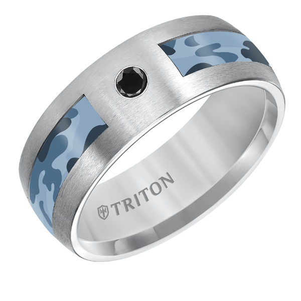 Triton Grey Tungsten Blue Camo Inlay with Black Diamond Ring