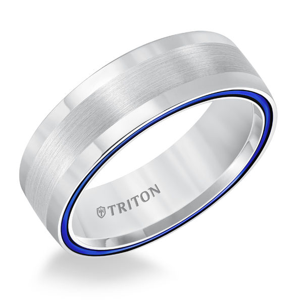 White Tungsten Air Electric Blue Domed Ring by Triton