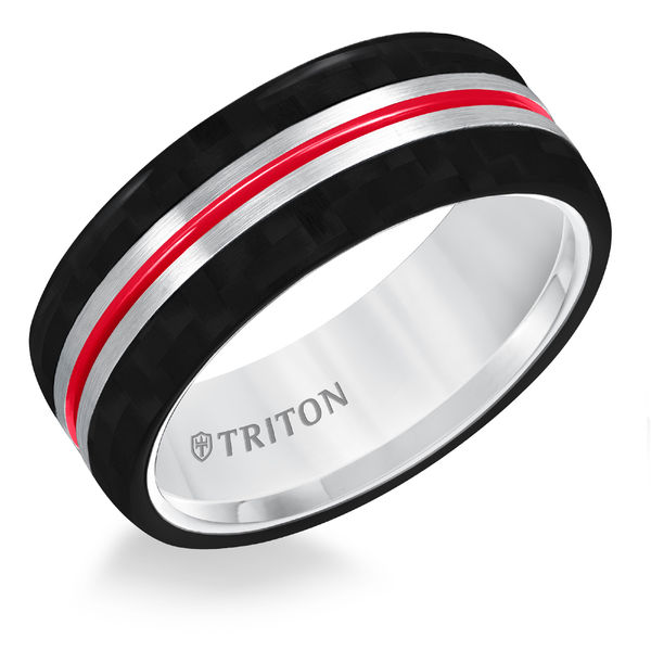 Carbon Fiber Tungsten Air Fire Red Stripe Ring by Triton
