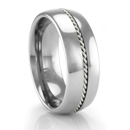 Tungsten Ring with Palladium Braid by Heavy Stone Rings