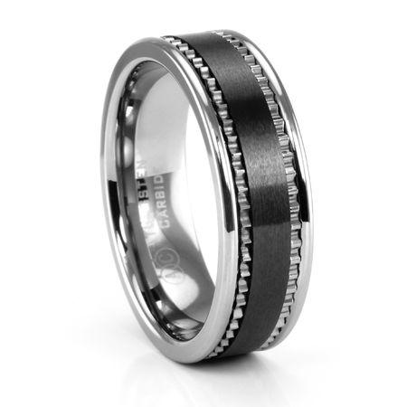 BRANDO ArtCarved Tungsten and Black Ceramic Ring