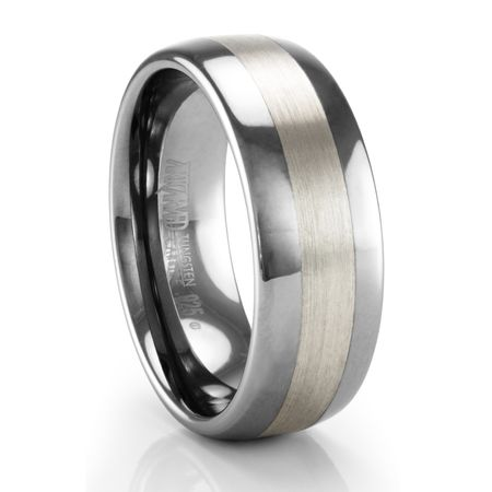 ARTCARVED Jordan Wide Tungsten Ring with Sterling Silver