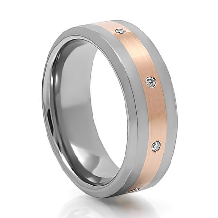 AEON Tungsten Red Gold Diamond Wedding Band 14KR