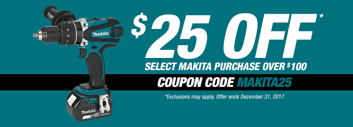 Makita $25 Off Eligible $100 Purchase