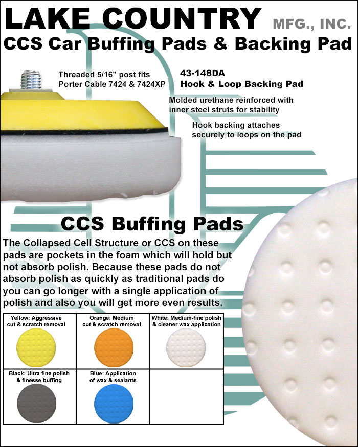 lake country 78 5165 152m 6 1 2 yellow ccs auto buffing pad. Black Bedroom Furniture Sets. Home Design Ideas