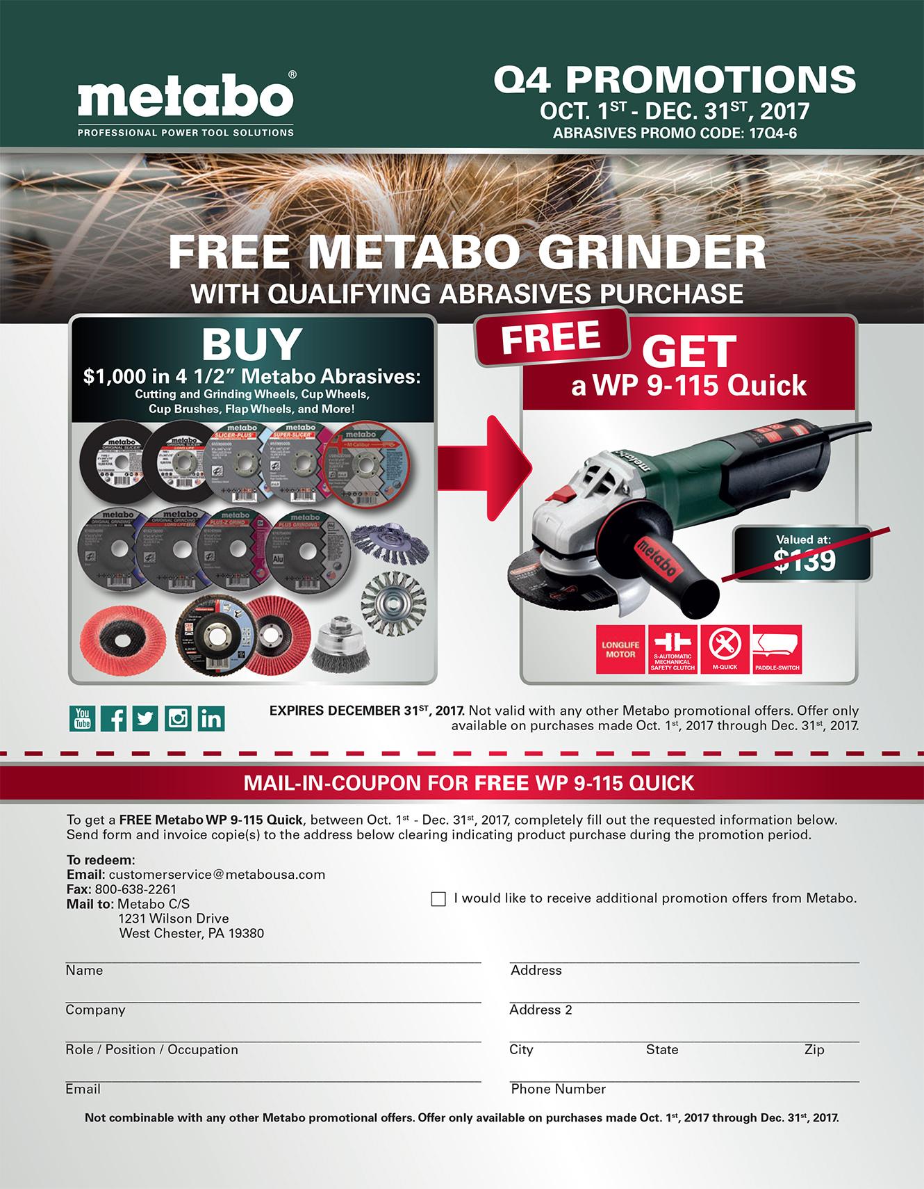 Metabo Grinder Promotion Image
