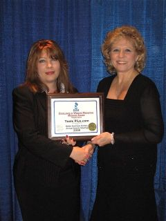 Tracy Lacombe On Behalf Of Tools Plus Receiving The 2008 Honorable Mention Web Site Marketing Message Award From Paulette Hotton Scarpetti President And