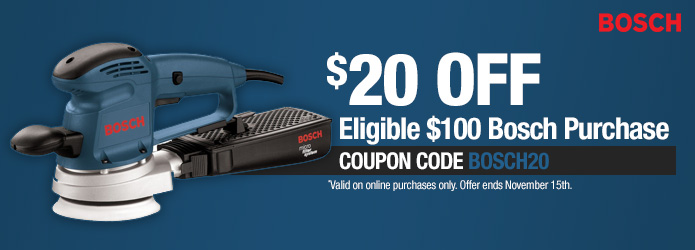 Bosch $20 Off Eligible $100 Bosch Purchase