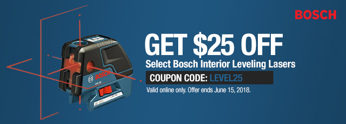 $25 Off Select Bosch Interior Leveling Lasers - Ends June 15th
