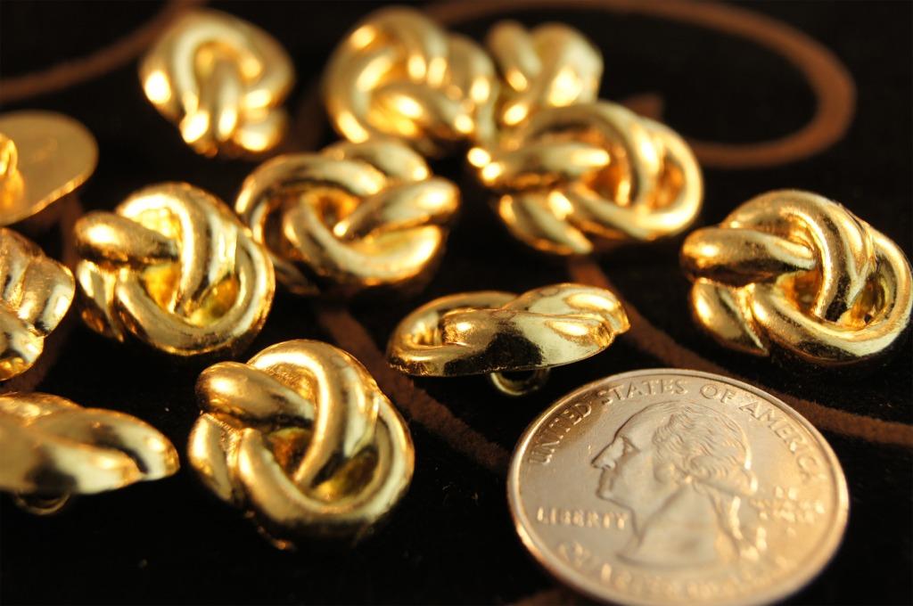 Vintage Metal Gold Shank Buttons