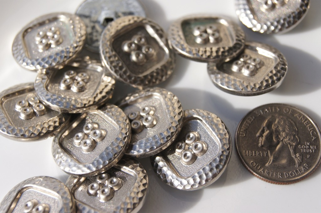 Vintage Embossed Silver Metal Shank Buttons