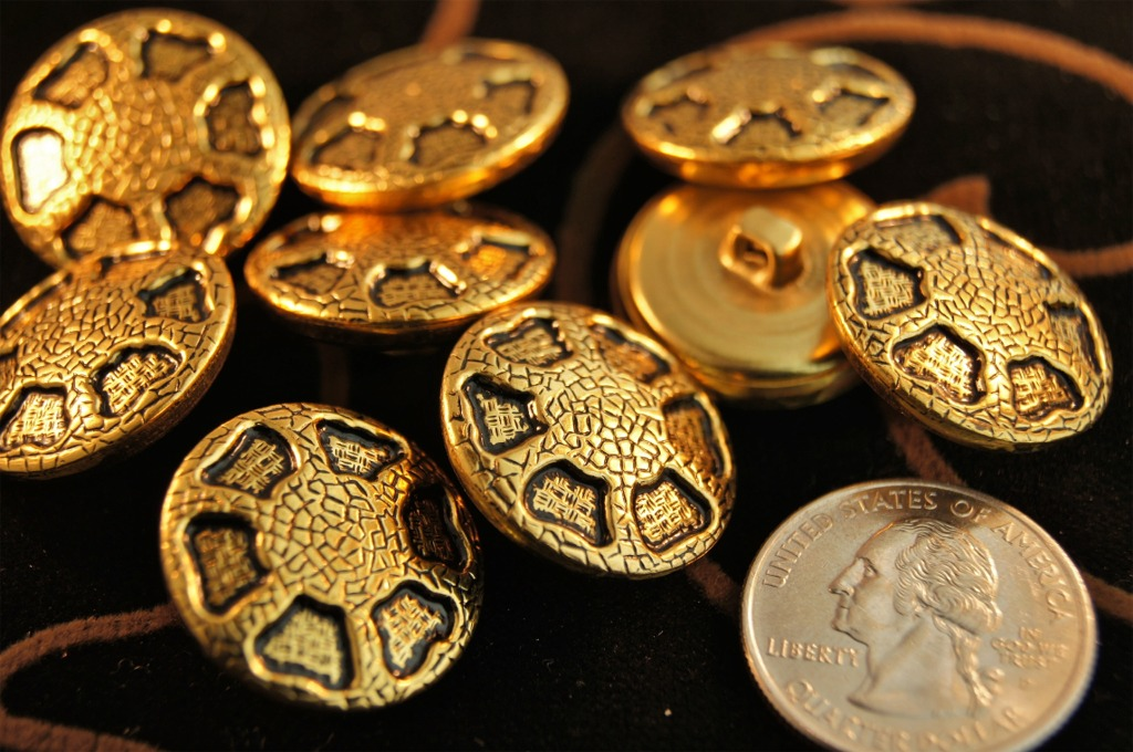 Vintage Gold Metal Fashion Buttons