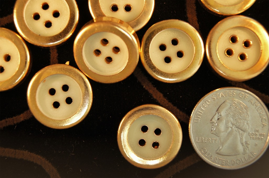 Gold Rim 4 Hole Fashion Buttons