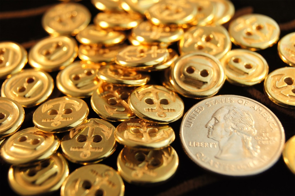 2 Hole Anchor Gold Buttons
