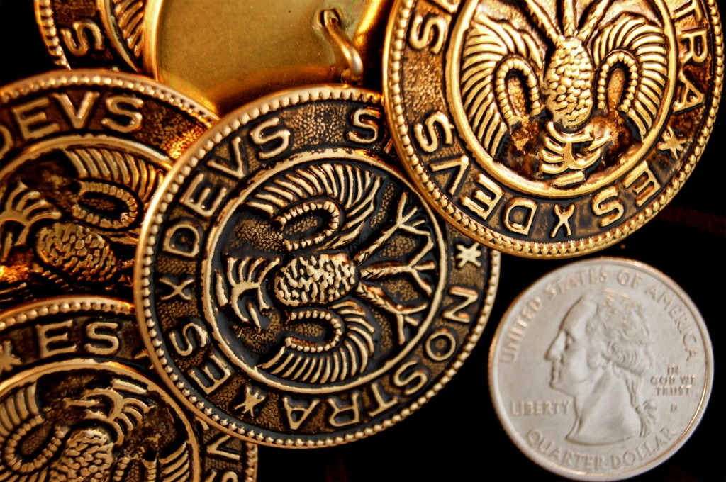 Vintage Gold Embossed Metal Buttons