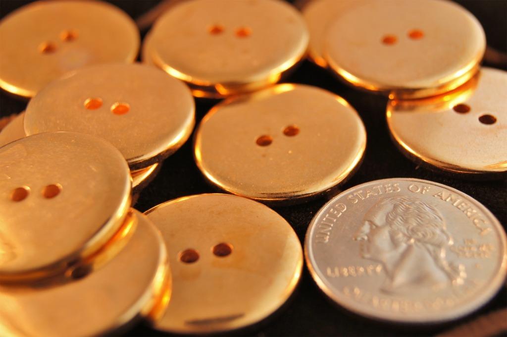 2 Hole Metallic Gold Buttons