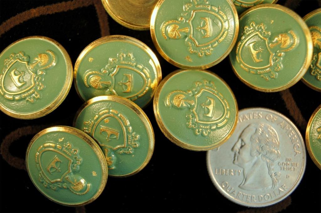 Vintage Teal Embossed Gold Metal Blazer Buttons