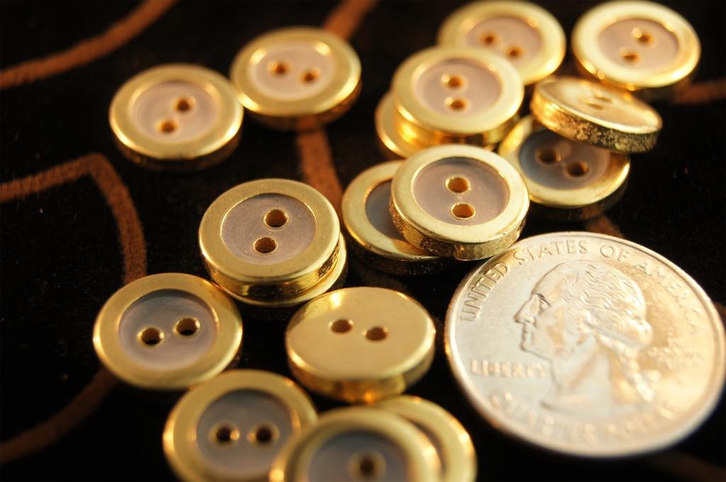 2 Hole Metallic Gold Rim Fashion Buttons