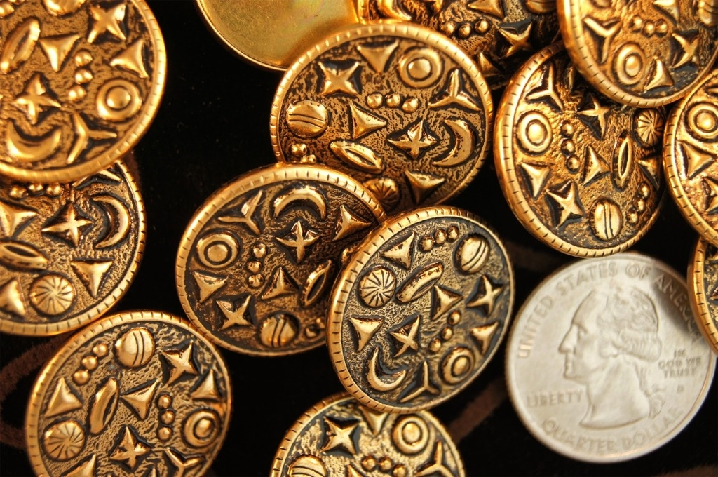 Embossed Gold Metal Shank Buttons