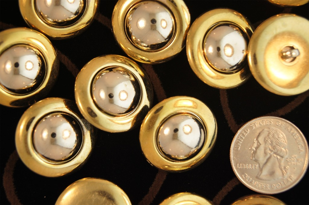 Metallic Gold Shank Silver Dome Buttons