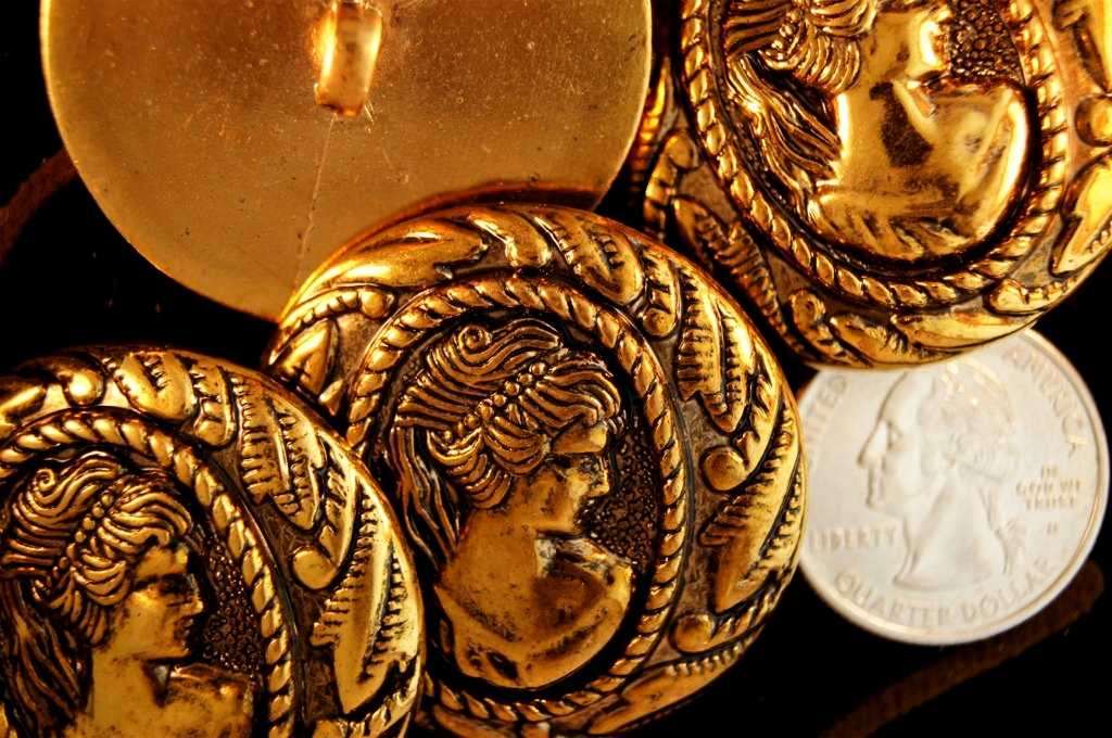 Embossed Queen Head Copper Gold Vintage Shank Buttons
