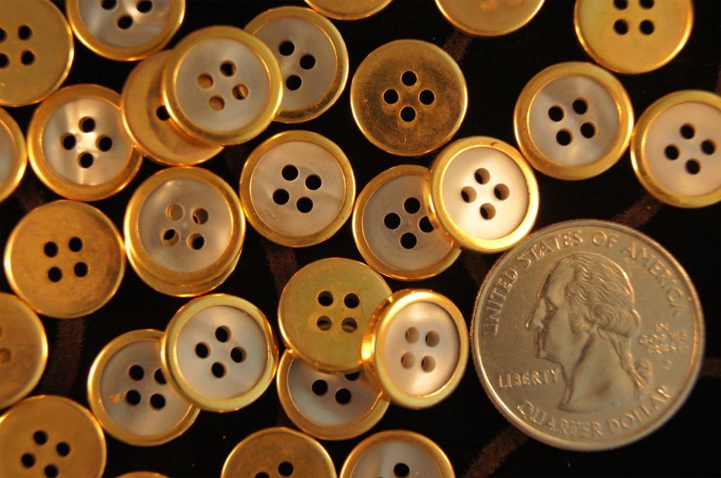 Gold Rim 4 Hole Buttons