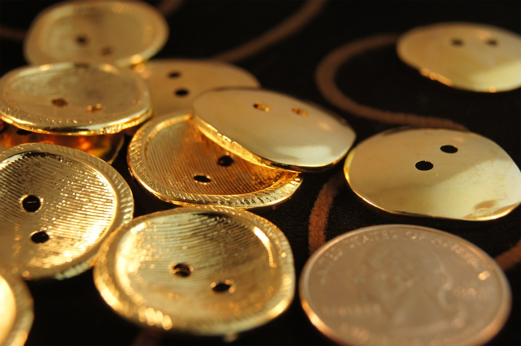 2 Hole Designer Gold Buttons