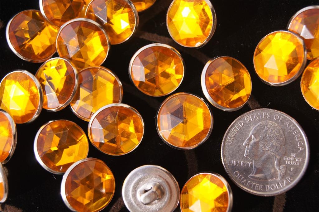 Silver Metal Shank Orange Gem Designer Buttons