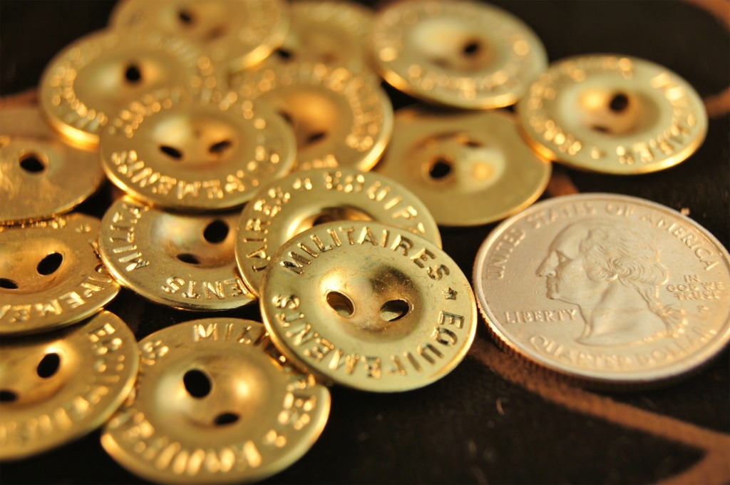Gold Metal 2 Hole Buttons